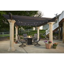 Tuscany Pergola with Wood Beams and Marbleized Noche Dining Fire Pit Table